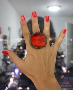 Whole sale version- Stained glass red statement ring, big red shades ring, adjustable chunky ring