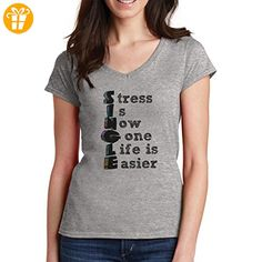 Stress Is Now Gone Life Easier Single Date Quote XL Damen V-Neck T-Shirt (*Partner-Link)