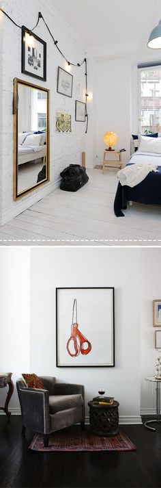 love the white walls and floor in the top photo and the lights hung on the wall.  in the bottom photo its that gray velvet chair and that little rug