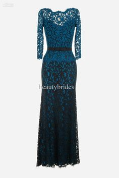 Custom made V neck sheath column lace ribbon belt long sleeves floor length mother of the bride dresses mother of the groom dresses 1008B