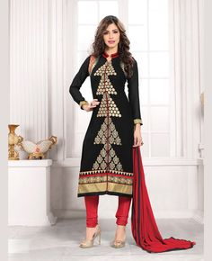 Black Georgette Churidar Suit 67656