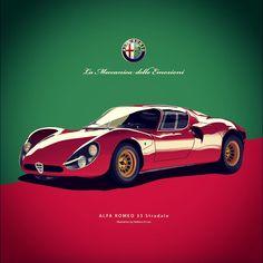 Alfa Romeo 33 Stradale Illustration #alfaromeo #alfa #romeo #vector #illustration #illustrator #car