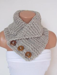 Items similar to Stone Hand Knitted Cowl Scarf With Wooden Buttons-Neck Warmer Winter Accessories,Fall Fashion.Holiday Accossories,Chunky Scarf on Etsy Knitting ProjectsKnitting HumorCrochet ProjectsCrochet Ideas Finger Knitting, Loom Knitting, Hand Knitting, Knit Cowl, Cowl Scarf, Knit Or Crochet, Crochet Scarves, Crochet Granny, Hand Crochet