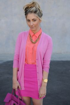 Shop this look on Lookastic: https://lookastic.com/women/looks/cardigan-dress-shirt-mini-skirt-tote-bag-necklace-watch/10479   — Orange Dress Shirt  — Gold Necklace  — Pink Cardigan  — Hot Pink Mini Skirt  — Gold Watch  — Hot Pink Leather Tote Bag