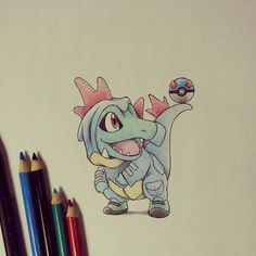 Birdy C. // 90s kid (@itsbirdy «Silly #Totodile in his #Feraligatr #onsie showing you all the #art of balance :) #sketch #pokemon…»