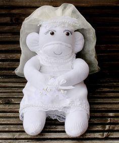 Vintage Style Bride Sock Monkey with Wedding Dress by scratchycat, $22.00