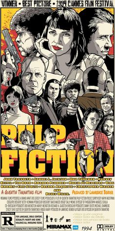 Cool f*cking poster (Pulp Fiction) XD Best Movie Posters, Classic Movie Posters, Movie Poster Art, Poster S, Poster Prints, Pulp Fiction Film, Tarantino Pulp Fiction, Quentin Tarantino Films, Posters Vintage