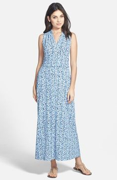 Vince Camuto 'Sorbet Dabs' Print Cutaway Shoulder Jersey Maxi Dress available at #Nordstrom