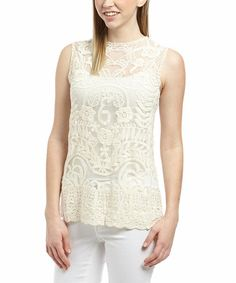 Look what I found on #zulily! Cream Sheer Lace Sleeveless Top - Women #zulilyfinds