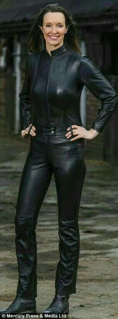 Fitted black leather jacket and pants outfit