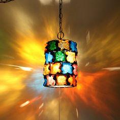 1960s VTG Feders Brutalist Glass Hanging Swag Lamp Pendant Light Fixture Retro