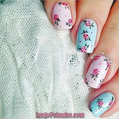 60 Spring Floral Nail Art Designs and Ideas Colors Fun Nails, Pretty Nails, Nail Art Designs, Nails Design, Vintage Nails, Floral Nail Art, Pastel Floral, Pastel Pink, Heart Nails