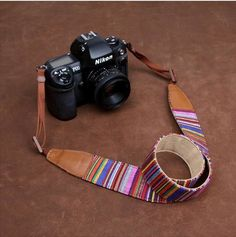 Indian Pinstripe Strap Sony Nikon Canon Handmade Leather Camera Strap Style Holiday-7205