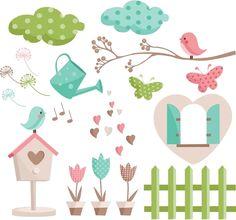 Love Garden Birds Digital Clip Art Set JPG by ValleyCollection Garden Illustration, Cartoon Pics, Cartoon Picture, Baby Decor, Filofax, Cute Clipart, Cute Art, Scrapbook Paper, Applique