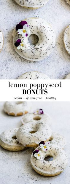 These Vegan Lemon Poppyseed Donuts loaded with lemony flavour, and baked to perfection for a healthy, vegan, and gluten-free donut! Gluten Free Donuts, Gluten Free Baking, Vegan Baking, Vegan Gluten Free, Vegan Food, Healthy Donuts, Delicious Donuts, Lemon Dessert Recipes, Lemon Recipes