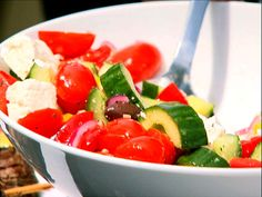 Greek Salad recipe from Ina Garten via Food Network, must add some tortellini or pasta to make a meal