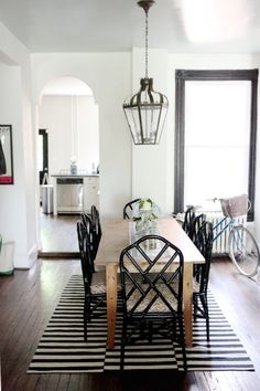 rustic table with lacquer chairs