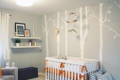 Grey and Tangerine modern nursery. #grey