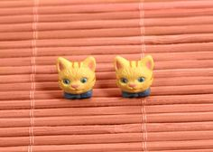 1993 Avon Childrens Tabbitha Tabby pierced earrings by FrogTears
