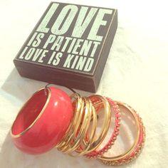 Bangle bracelets set of 12 Set of 12 pink and gold colors, bangle bracelets. New! Jewelry Bracelets