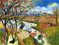 'Landscape (blau)', öl auf leinwand von André Derain (1880-1954, France)