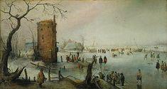 Hendrick Avercamp - Schaatsers bij een stad