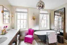 A spacious six-story townhouse designed for family living features bright and airy interiors, sited in the desirable New York location of Greenwich Village. Townhouse Interior, Townhouse Designs, Greenwich Village, Manhattan, New York City, French Bathroom, Master Bathroom, Ikea Bedroom, West Village