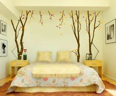 Decorate your wall with birch tree decals to get ready for fall.