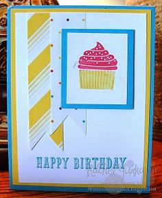Fun, birthday card with a surprise inside. Visit Rachel's Stamping Place to see the inside of this card using Stampin' Up! supplies.
