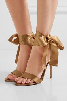 Heel measures approximately 105mm/ 4 inches Gold satin Ties at ankle Made in Italy