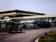 Buses and coaches at Athens airport in the 1970s