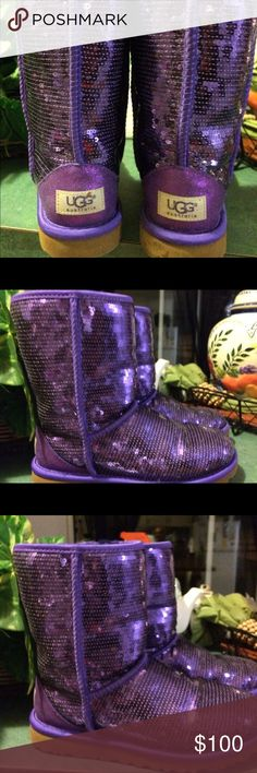 Sequined UGGs Australia Completely authentic purple sequined UGGs they retail for 249 UGG Shoes Winter & Rain Boots