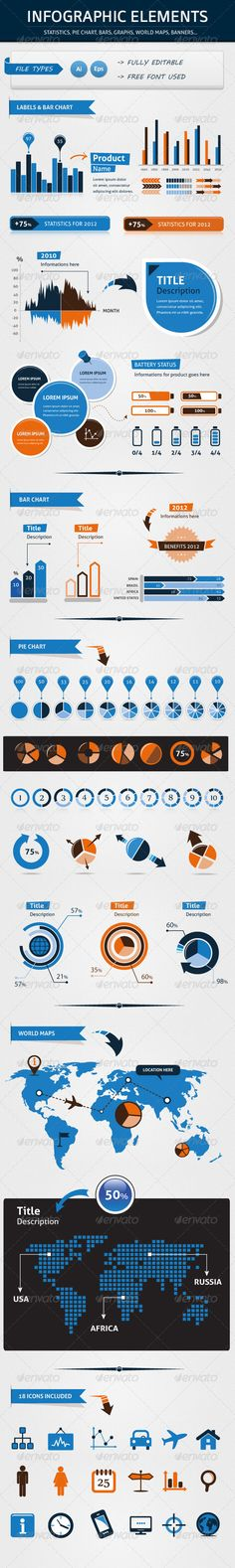 INFOGRAPHIC ELEMENTS PACK FOR YOUR BUSINESS Template Vector EPS, Vector AI. Download here: http://graphicriver.net/item/infographic-elements-pack-for-your-business/2677259?s_rank=133&ref=yinkira