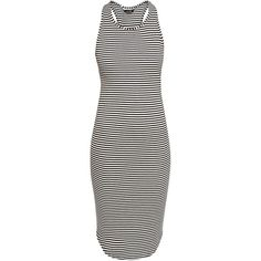 Black Stripe Racer Back Midi Dress ($7.21) ❤ liked on Polyvore featuring dresses, stripe, midi, midi dress, new look, curved hem dress, sleeveless midi dress, striped dress, body con dress and striped midi dress