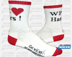 Socks designed by My Custom Socks for WPC Haters cycling club in Baltimore, Maryland. Cycling socks made with Coolmax fabric. #Cycling custom socks - free quote! ////// Calcetas diseñadas por My Custom Socks para WPC Haters cycling club en Baltimore, Maryland. Calcetas para Cyclismo hechas con tela Coolmax. #Cyclismo calcetas personalizadas - cotización gratis! www.mycustomsocks.com.