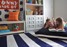 summer reading spot with floor pillow & striped rug