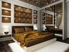 chambre à coucher moderne avec une literie en marron aux accents de couleur or