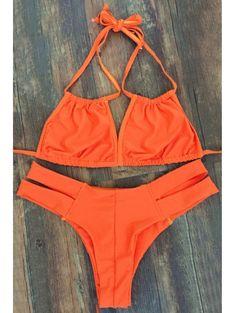 Lace Up Orange Bikini Set #womensfashion #pinterestfashion #buy #fun#fashion