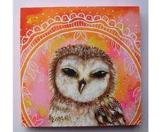 Micki Wilde - Original folk art owl painting mixed media art painting on wood canvas 6x6 inches - Summer Dreams