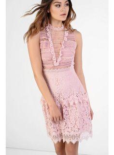 Glamorous pink lace skater dress