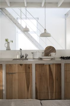 60 Contemporary Wooden Kitchen Cabinets For Home Inspiration. Choosing the perfect wooden kitchen cabinets for your home is not as simple as it might appear. While the choices are limited, . Wooden Kitchen Cabinets, Concrete Kitchen, Concrete Wood, Kitchen Cabinet Design, Interior Design Kitchen, Kitchen Walls, Kitchen Soffit, Cement Counter, White Concrete