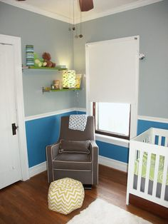 Baby boy nursery. Love the paint colors, the chair and decor!