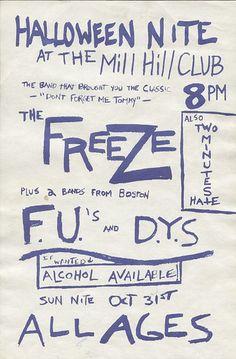 Freeze, FU's, DYS punk hardcore flyer