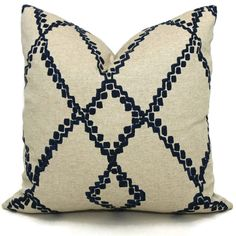 Add a Pop O Blue to your decor with this geometric indigo blue and oatmeal abstract trellis pillow cover. A new take on the trellis pattern that looks great with other blues, neutrals or colors. Same fabric on front and back. Placement of the design may vary. Pillow made to your size specification - choose your size from the pull down menu. All of my pillows are handcrafted and designed by me with careful attention to detail: - corners are tapered so they dont dog ear  - fabric edges are…