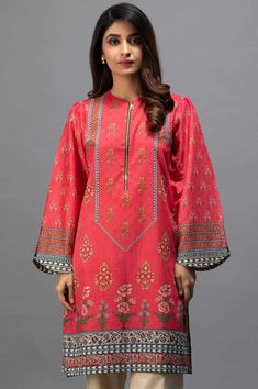 A beautiful shirt with a front zipper and beautiful digital print having marble balls for embellishment by Zeen eid collection 2019 is a must have eid kurti Sleeves Designs For Dresses, Dress Neck Designs, Kurti Neck Designs, Kurta Designs Women, Kurti Designs Party Wear, Stylish Dress Designs, Beautiful Pakistani Dresses, Pakistani Formal Dresses, Pakistani Fashion Casual