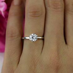 1 ct 14k White Gold Ring 6 Prong Solitaire Ring by TigerGemstones