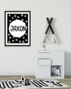 Personalized Name Sign Hugs and Kisses Custom Name Print. Lovely baby or kid room. Monochrome Nursery, White Nursery, Nursery Prints, Wall Art Prints, Personalised Prints, Digital Wall, Wall Art Sets, Name Signs, Baby Decor