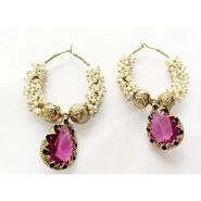 White Pearl Chandbali with Moov Pink Stone