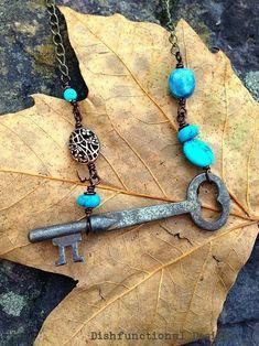 VINTAGE upcycled Timeless Beauty Cameo Locket Assemblaged Multi Stranded Necklace with a brass Skeleton Key
