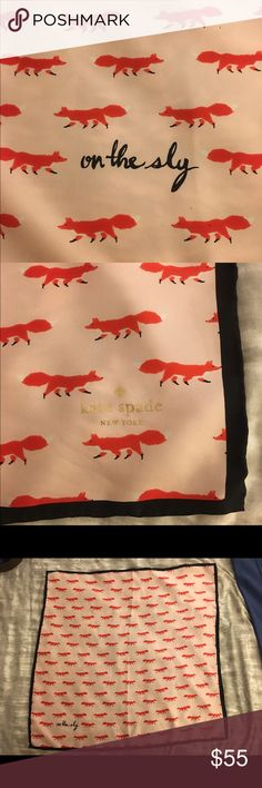 "NEW Kate Spade 'On the Sly' silk scarf Pastel pink Kate Spade silk scarf with red fox pattern. Never been worn! 26"" x 26"" kate spade Accessories Scarves & Wraps"